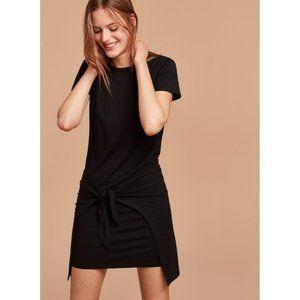 Aritzia Wilfred Free Bair XS Black Rayon Tie-Front Short Sleeve T-Shirt Dress